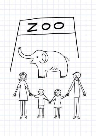 Family in zoo      Vector