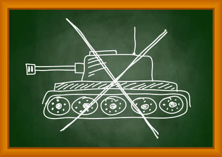 Drawing of tank on blackboard     Vector