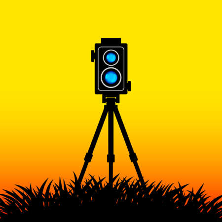 Black silhouette of camera  Vector