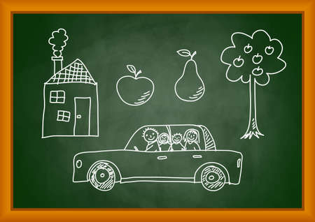 Sketches on blackboard Vector