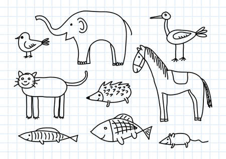 Drawing of animals on squared paper Vector