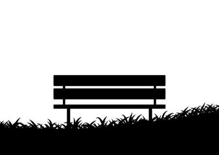 탁상: 벤치의 실루엣 일러스트