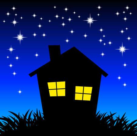 Night house Stock Vector - 12685982