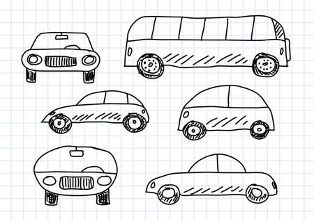 autobus: Drawing of cars on squared paper Illustration