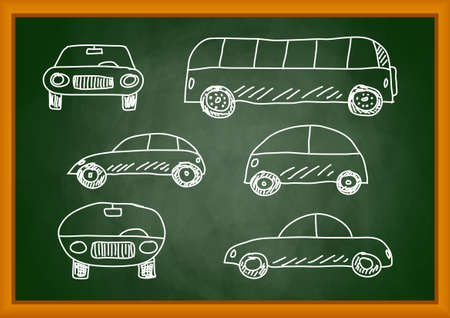 Drawing of cars on blackboard Vector