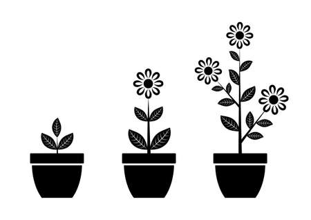plant pot: Black flower icon Illustration