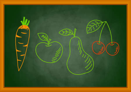 Drawing of vegetable and fruit on blackboard Vector
