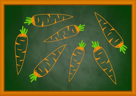 Rysunek marchewki na tablicy Zdjęcie Seryjne - 12892268