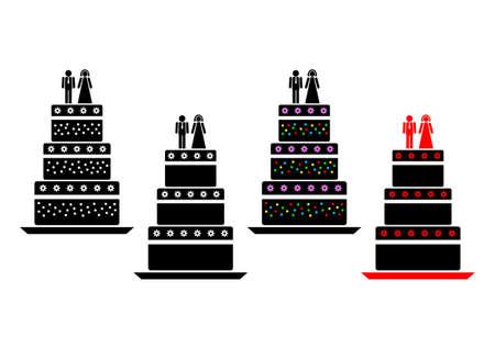 wedding cake isolated: Cake icons Illustration