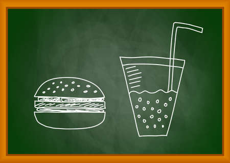 Drawing of hamburger on blackboard Vector