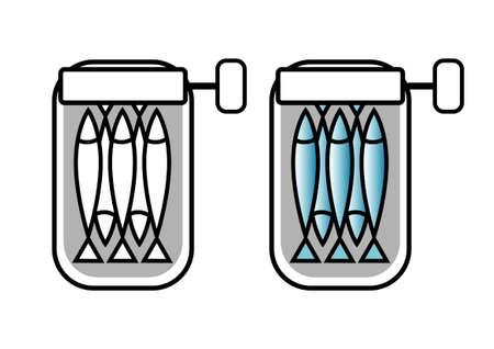 Sardines blikje Vector Illustratie