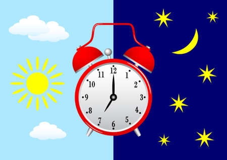 Red alarm clock on blue sky Vector
