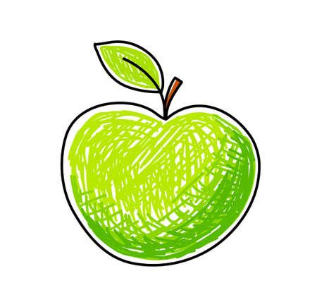 manzana caricatura: Manzana verde