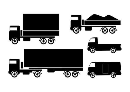 Black silhouettes of trucks         Vector