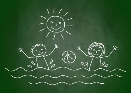 swims: Drawing of summer day on blackboard Illustration