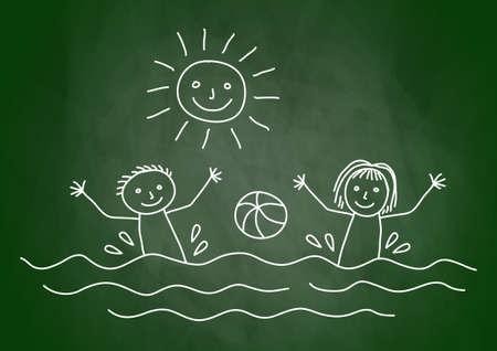 Drawing of summer day on blackboard