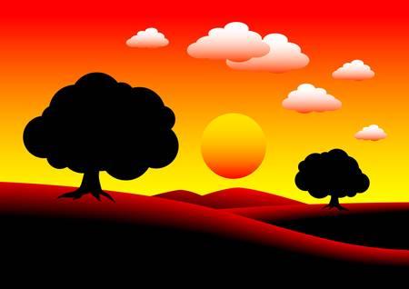 Morning landscape Illustration