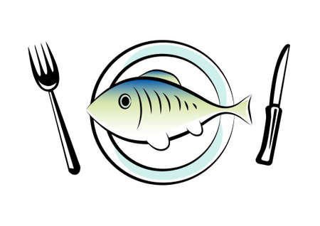 porcelain plate: Fish on porcelain plate  Illustration