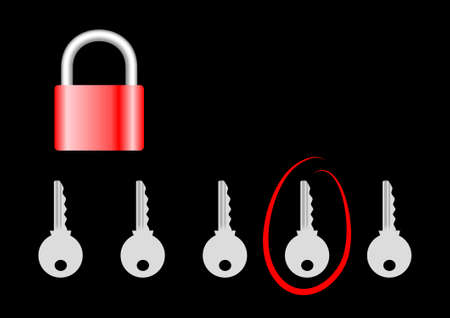 Padlock with keys on a black background Stock Vector - 13278379
