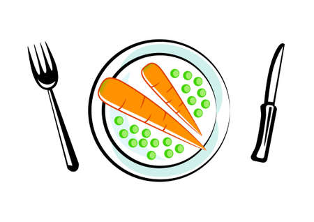 Carrot with peas on porcelain plate Stock Vector - 13278409