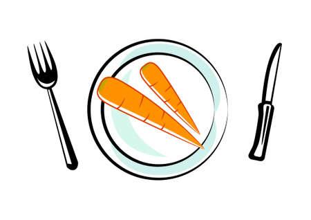 Carrot on porcelain plate Stock Vector - 13278407