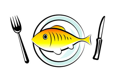 Gold fish on porcelain plate Stock Vector - 13278408