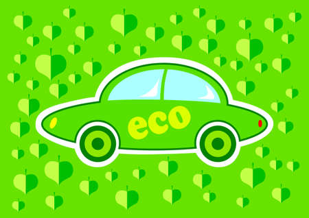Green eco car on green background Vector