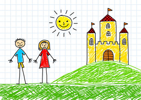 Drawing of children and castle on  squared paper      Vector