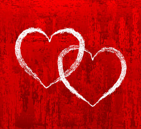 Heart on red abstract background Vector