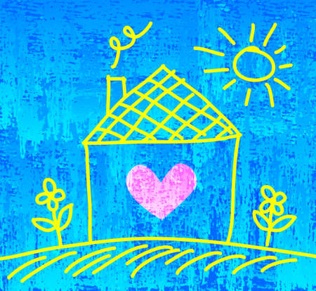 Drawing of house on blue abstract background Vector