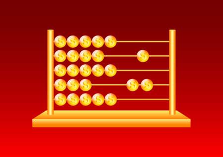 Golden abacus Stock Vector - 13362718