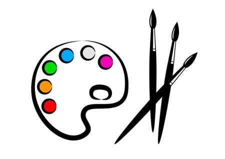 paleta de pintor: Paleta y los pinceles