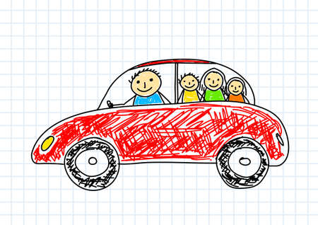 Drawing of red car on squared paper Vector