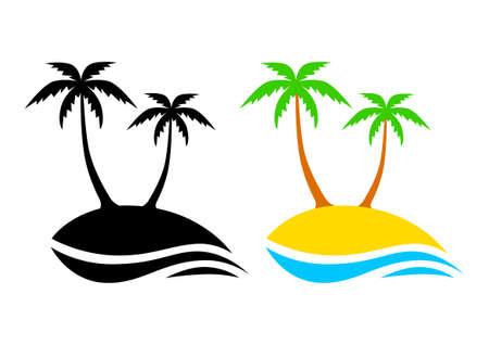 palm leaf: Island icons