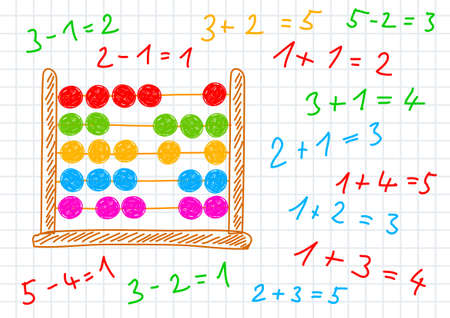 calculations: Drawing of abacus on squared paper