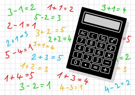 squared paper: Black calculator on squared paper