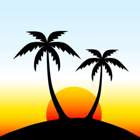 Eiland met palmbomen Vector Illustratie