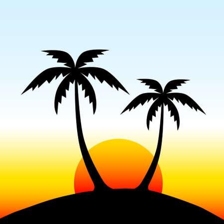 Insel mit Palmen Vektorgrafik