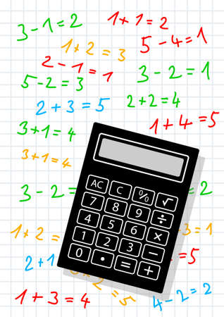 computations: Black calculator on squared paper
