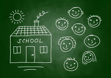 Drawing of school and children on blackboard Stock Vector - 13514918
