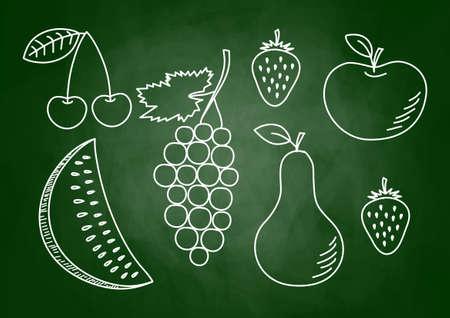 healthy snacks: Drawing of fruits on blackboard
