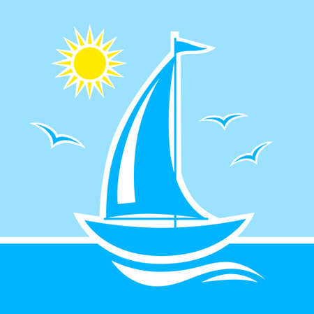 Sailboat on blue sea Illustration