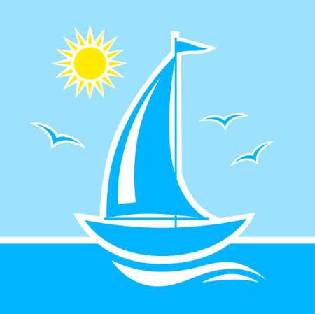 Barca a vela sul mare blu