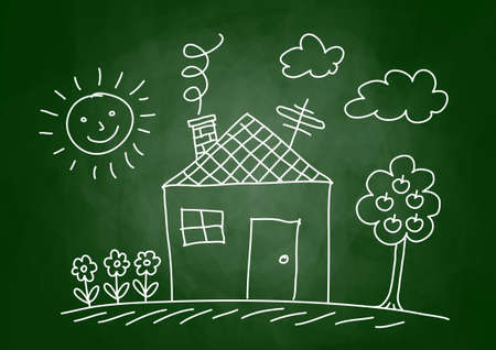 Drawing of house on blackboard Vector