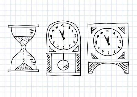 hourglass: Drawing of clocks on squared paper