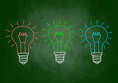 Drawing of light bulb on blackboard Stock Vector - 13670328