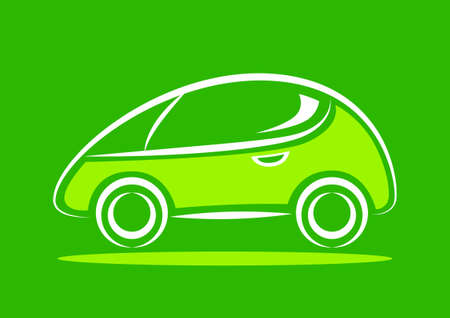 Car icon on green background Vector