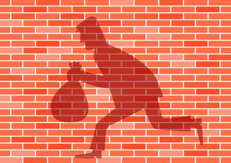Shadow on the brick wall Stock Vector - 13684609