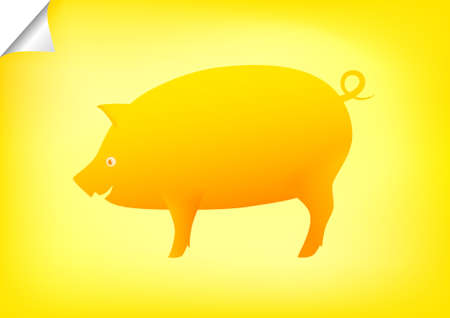 fatness: Golden pig  Illustration
