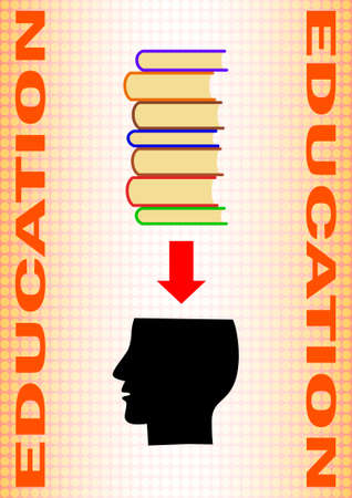 Black silhouette of head with books Vector